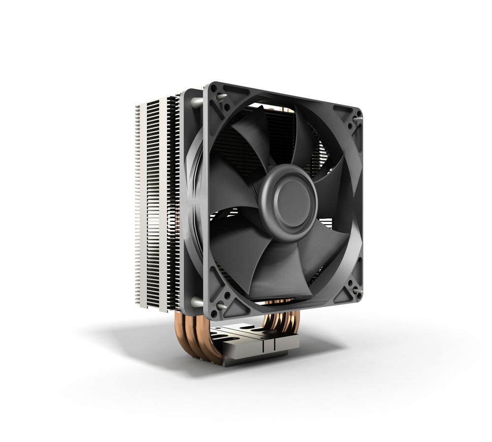 Active CPU cooler with the aluminum finned heat-sink and the fan 3d render
